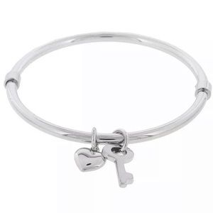 Marc Jacobs Sliver Heart/Key Charm Bangle Bracelet
